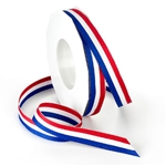 Ribbon #3 Grosgrain Stripes Red White & Blue 25 Yd