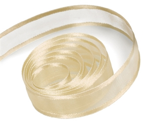 Ribbon #9 Delight Sheer Ivory W/Satin Edge 100Y