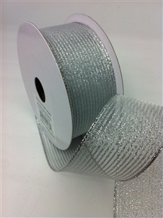 Ribbon #9 Sheer Stripe Expression Silver 10Yd