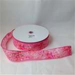 Ribbon #9 Floral Spring Pink Wire Edge 1313V 50Y