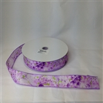 Ribbon #9 Floral Spring Lavender Wire Edge 747 50Y