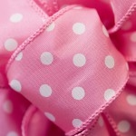 Ribbon #9 White Dots On Pink Wire Edge 50Y