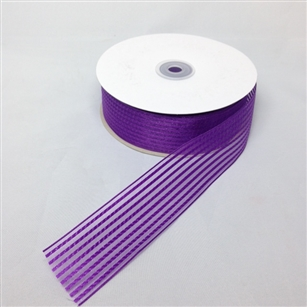 Ribbon #9 Sheer Stripe Chiffon Purple 2929 50 Yd