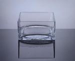 "Square Glass Block Vase 9""x9""x4""h"