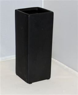 "Ceramic Rectangle Vase 4""X 4""OPEN,14""HIGH - Black"
