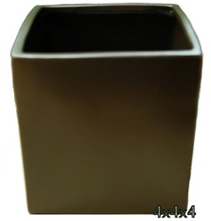 Ceramic Cube Vase 4x4x4 - Brown