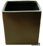 Ceramic Cube Vase 6x6x6 - Brown
