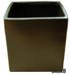 Ceramic Cube Vase 8x8x8 - Brown
