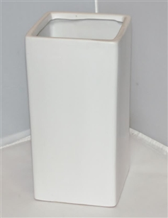 "Ceramic Rectangle Vase 4""X 4""OPEN, 10""HIGH - White"