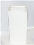 "Ceramic Rectangle Vase 5""X 5""OPEN,10""HIGH - White"