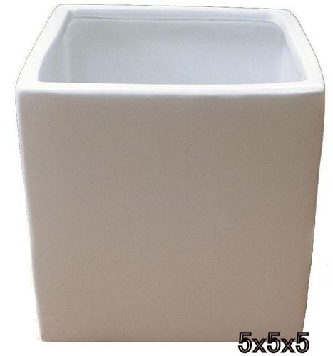 Ceramic Cube Vase 5x5x5 White