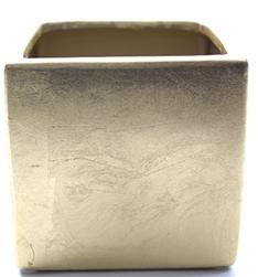 Ceramic Cube Vase 4x4x4 Matte Gold