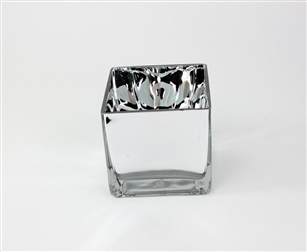 Cube Glass Vase 4x4x4, High Gloss, Silver Mirror Finish