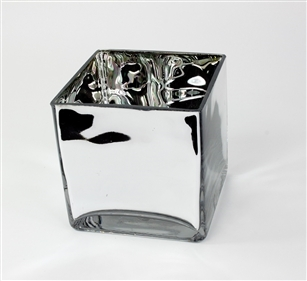 Cube Glass Vase 5x5x5, High Gloss, Mirror Finish