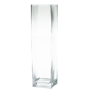 "Block Glass Vase 6x6x24""h"