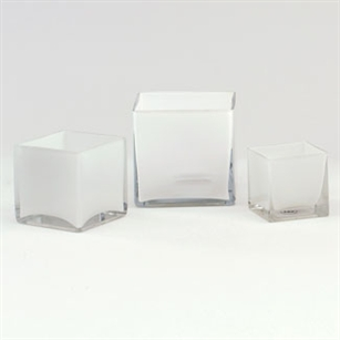 Cube Glass Vase 4x4x4 - White