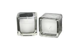 Square Clear Votive with Candle (Case of 24)