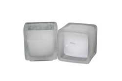 Square Frosted Votive with Candle (Case of 24)