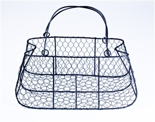 "Large Wire Form Purse 12"" w x 6"" h, Black"