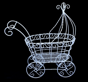 "Wired Baby Carriage, Stroller 14"" x 7"" x 15""h"