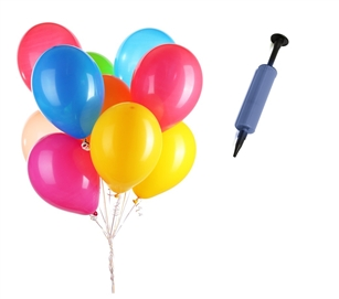"50 Pack assorted latex balloons 11"" + Hand Pump"