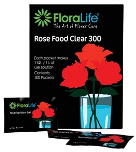 Floralife® Rose Food Clear 300 Powder, 1Qt./1L packet, 100 box, 600 case