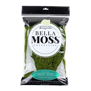 BELLA MOSS PRESERVED SHEET MOSS, 120 CU IN BAG, 12/CASE