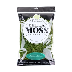 BELLA MOSS PRESERVED SHEET MOSS, 200 CU IN BAG, 10/CASE