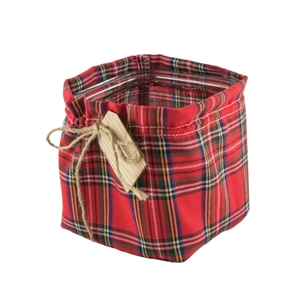 "4"" x 4"" x 4"" Square, Plaid Jacket w/Wooden Tag,  Pack Size: 12"