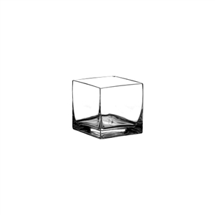 "4"" x 4"" x 4"" Square Vase, Crystal,  Pack Size: 12"