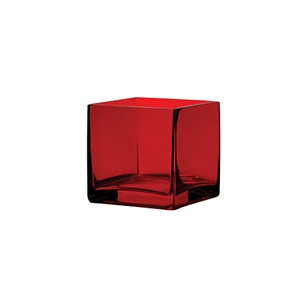 "4"" x 4"" x 4"" Square Vase, Ruby,  Pack Size: 12"