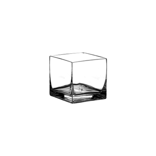 "5"" x 5"" x 5"" Square Vase, Crystal,  Pack Size: 6"