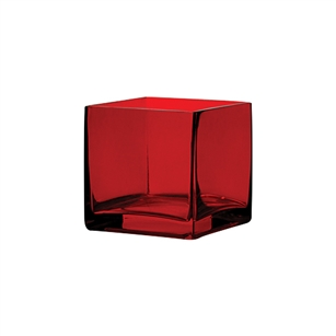 "5"" x 5"" x 5"" Square Vase, Ruby,  Pack Size: 6"