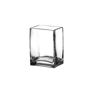 "4""x3"" x 5 1/2"" Rectangle Vase, Crystal,  Pack Size: 6"