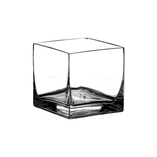 "8"" x 8"" x 8"" Square Vase, Crystal,  Pack Size: 4"