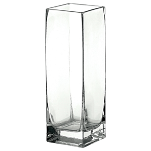 "3"" x 3"" x 8 1/2"" Square Vase, Crystal,  Pack Size: 6"
