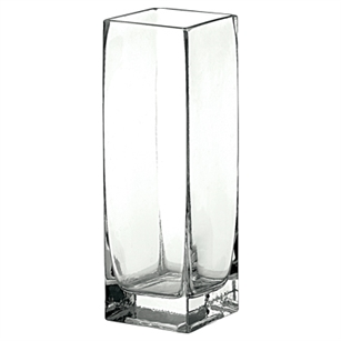 "3 3/4""x3 3/4""x11"" Square Vase, Crystal,  Pack Size: 6"