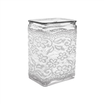 "4"" x 3"" x 6"" Rectangle Vase, Vintage Lace,  Pack Size: 12"