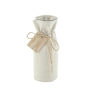 "10 ¾"" Bistro Bottle, Linen Jacket w/Wooden Tag,  Pack Size: 12"