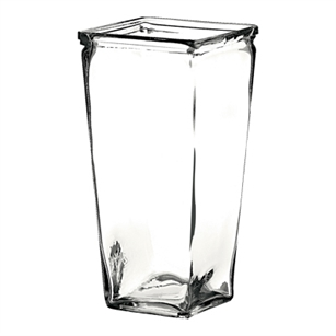 "9"" Tapered Square Vase, Crystal,  Pack Size: 12"