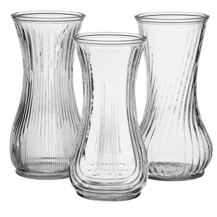"9 3/4"" Rose Vase Asst, Crystal,  Pack Size: 24"