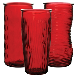 "9 3/4"" Rose Vase Assortment, Ruby,  Pack Size: 12"