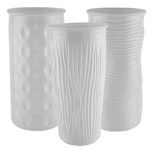 "9 3/4"" Rose Vase Assortment, White,  Pack Size: 12"