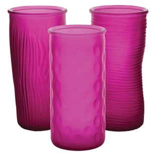 "9 3/4"" Rose Vase Assortment, Raspberry Frost,  Pack Size: 12"