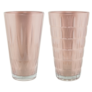 "9"" Cut Crystal Vase Asst, Rose Gold,  Pack Size: 6"