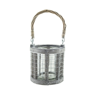 "4.5"" Wire Lantern w/3x4 Glass, Whitewash,  Pack Size: 12"