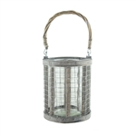 "6.5"" Wire Lantern w/4x6 Glass, Whitewash,  Pack Size: 8"
