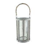 "8.63"" Wire Lantern w/4x8 Glass, Whitewash,  Pack Size: 6"