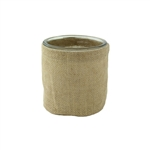 "4"" Round Burlap w/Glass, Natural Burlap,  Pack Size: 12"