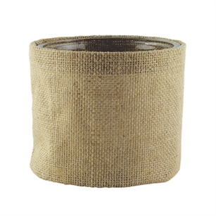 "5"" Round Burlap w/Glass, Natural Burlap,  Pack Size: 12"